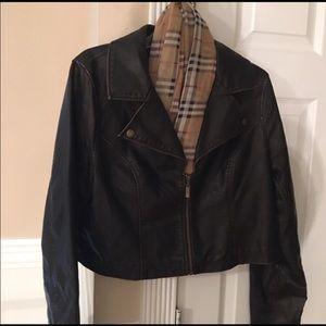 Dark Brown leather jacket likely worn!!